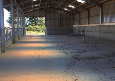 Inside farm shed