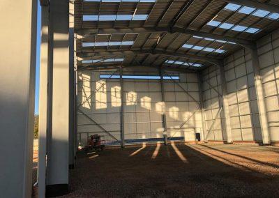 Inside steel agricultural building